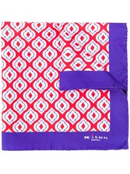 Kiton Geometric Pattern Foulard Red