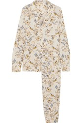Stella Mccartney Poppy Snoozing Floral Print Stretch Silk Crepe De Chine Pajama Set Cream