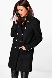 Boohoo Boutique Double Breasted Military Wool Coat Black