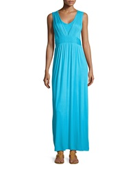 Neiman Marcus Braided Waist Sleeveless Maxi Dress Aqua Vista