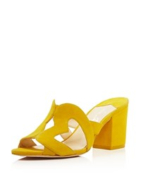 Isa Tapia Women's Amor Suede Heart Cutout Slide Sandals Canary Yellow