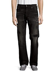 True Religion Ricky Distressed Straight Leg Jeans Black