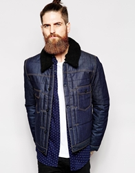 Asos Denim Jacket With Quilting Navy