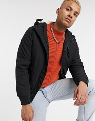 Bershka Hooded Bomber With Borg Lining In Black