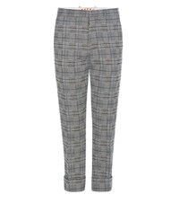 Marni Plaid Knitted Wool Blend Trousers Black