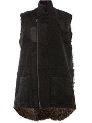 By Walid Sleeveless Fur Jacket Black