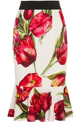 Dolce And Gabbana Fluted Floral Print Stretch Silk Skirt Red