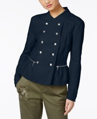 Inc International Concepts Linen Peplum Military Jacket Only At Macy's Deep Twilight