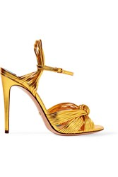 Gucci Metallic Leather Sandals Gold