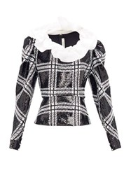 Rodarte Ruffled Checked Sequin Blouse Black Silver