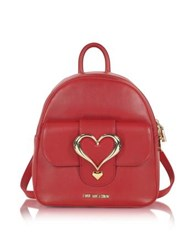 Love Moschino Eco Leather Backpack W Heart Buckle Red