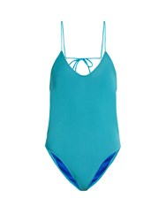 Bower Moonstruck Open Back Swimsuit Turquoise