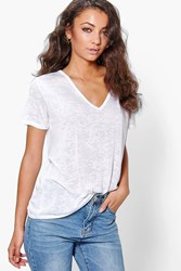 Boohoo Miri Slub Burnout Oversized V Neck Tee White