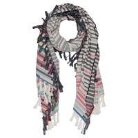 French Connection Staggered Striped Cotton Scarf Summer White Multi