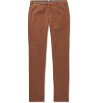 Zanella Tapered Pleated Cotton Blend Moleskin Trousers Brown