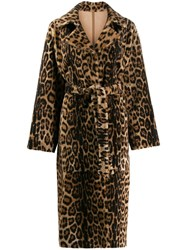Yves Salomon Leopard Print Coat Brown