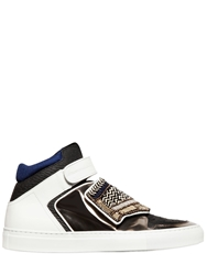Giacomorelli Embellished Leather High Top Sneakers White Gold