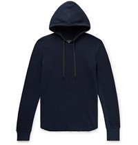 Rag And Bone Slim Fit Waffle Knit Cotton Hoodie Blue