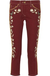 Isabel Marant Monroe Embroidered Low Rise Skinny Jeans