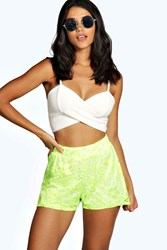 Boohoo Lolita Lace Runner Shorts Neon Green