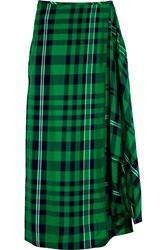 Stella Mccartney Draped Plaid Crepe Maxi Skirt Green