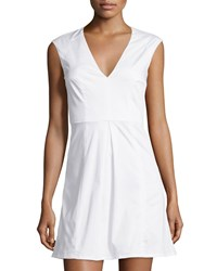 French Connection Classic Capri Sleeveless Fit And Flare Dress Optic White