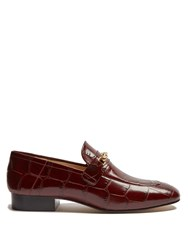Joseph Crocodile Effect Leather Loafers Burgundy