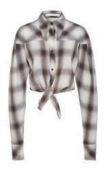 Jonathan Simkhai Plaid Diamond Tie Front Shirt Black White
