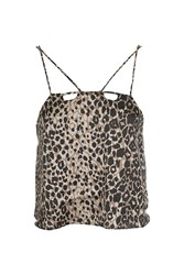 Topshop Leopard Satin Crop Top Multi