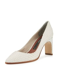 Matt Bernson Royale Snake Embossed Pointed Toe Pump White