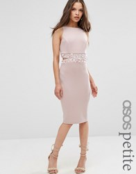 Asos Petite Embellished Waist Midi Bodycon Dress With Open Back Mink Beige