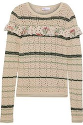 Red Valentino Ruffled Silk Trimmed Striped Cotton Sweater Sand