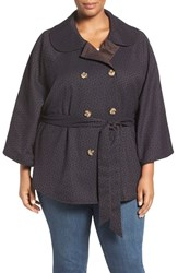 Melissa Mccarthy Seven7 Plus Size Women's Reversible Belted Cape Navy Yellow Dots