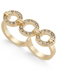 Thalia Sodi Gold Tone Crystal Circle Two Finger Ring Only At Macy's