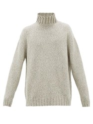 Raey Funnel Neck Tweed Effect Cashmere Blend Sweater White Multi