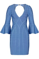 Herve Leger Yasmine Bandage Mini Dress Light Blue