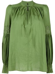 Plein Sud Jeans Lace Up Pleated Blouse Green