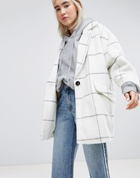 Pull And Bear Pullandbear Premium Longline Check Car Coat Cream
