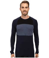 Smartwool Nts Mid 250 Color Block Crew Top Deep Navy Dark Blue Steel Heather Men's Sweater