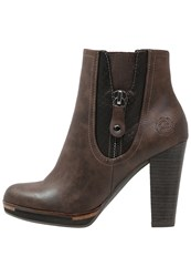 Marco Tozzi High Heeled Ankle Boots Mocca Dark Brown
