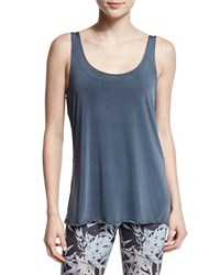 Onzie Round Neck Knot Back Sport Tank Charcoal Grey