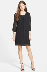 Petite Women's Pleione Three Quarter Sleeve Pleat Front Dress Black