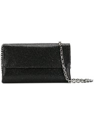 Casadei Foldover Glittered Clutch Bag Women Satin Polyester Chamois Leather One Size Black