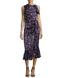 Cinq A Sept Nanon Sleeveless Ruched Floral Print Midi Cocktail Dress Pink