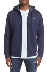 Lacoste Men's Fleece Zip Hoodie Navy Blue Dark Grey Jaspe