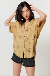 Urban Outfitters Uo Amazonia High Low Button Down Top Neutral Multi