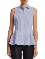 Saks Fifth Avenue Collection Pinstripe Blouse Princess Blue