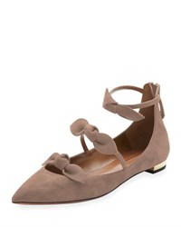 Aquazzura St. Tropez Suede Bow Flat Neutral