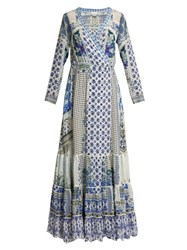Camilla Salvador Summer Silk Wrap Maxi Dress Blue Multi