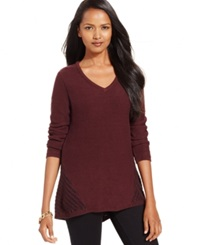 Style And Co. Petite Contrast Knit V Neck Sweater Only At Macy's